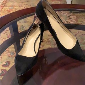 Ann Taylor Black suede shoes with gold heel